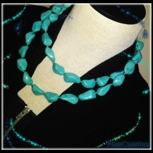 QVC turquoise chunky statement necklace,